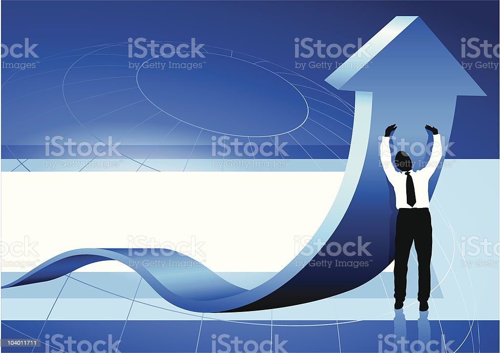Business Man holding up arrow blue background royalty-free stock vector art