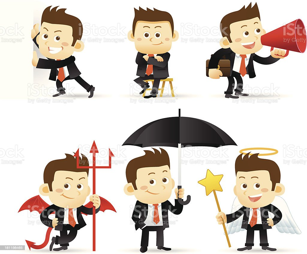 A business man in different concepts royalty-free stock vector art