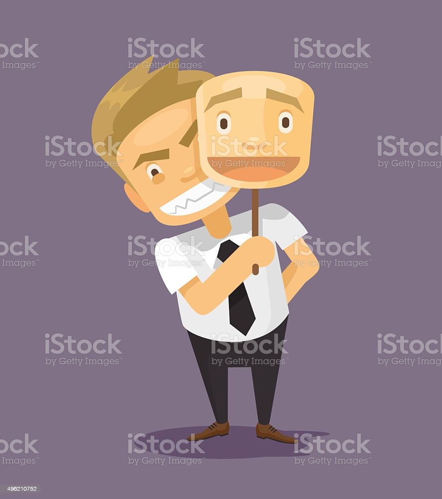 Business man in fake mask smile vector art illustration