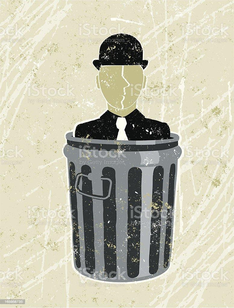 Business Man in Garbage Bin royalty-free stock vector art