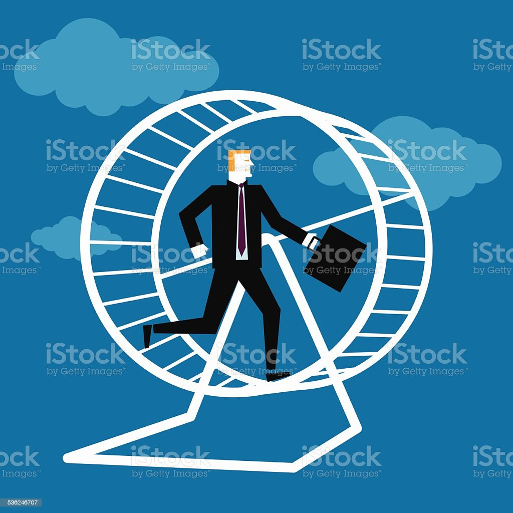 Business Man in Hamster Wheel vector art illustration