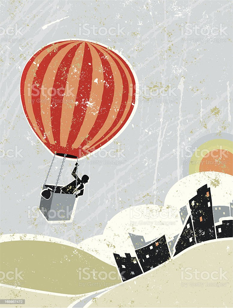 Business Man in Hot Air Balloon Flying Over Cityscape royalty-free stock vector art