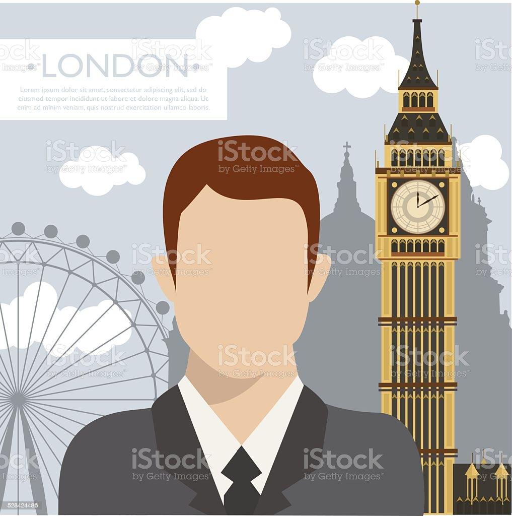 Business man in London vector art illustration