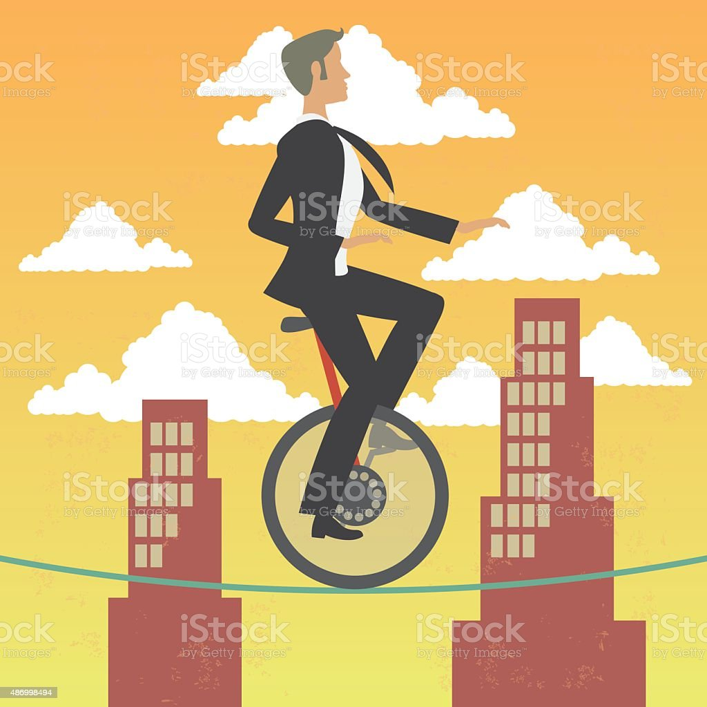 Business man in monocycle over high wire in a city vector art illustration