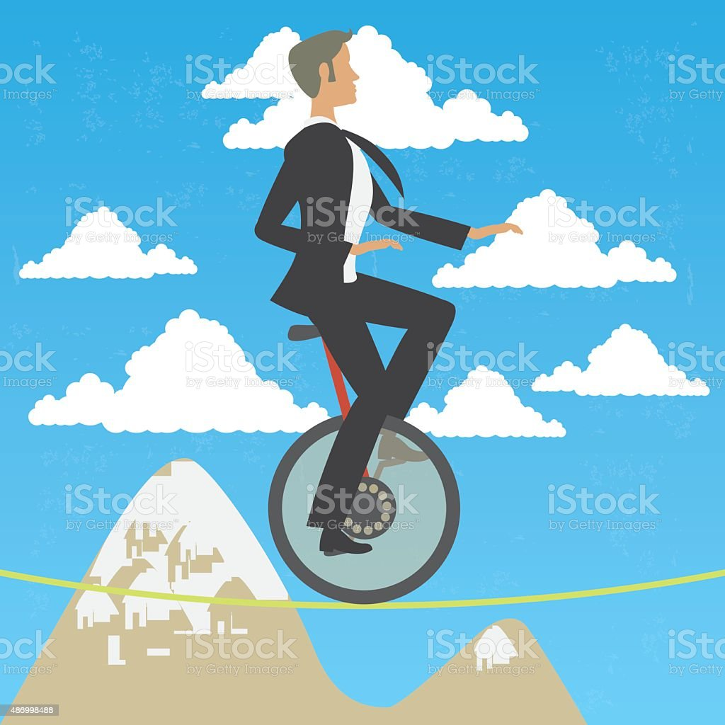 Business man in monocycle over high wire vector art illustration