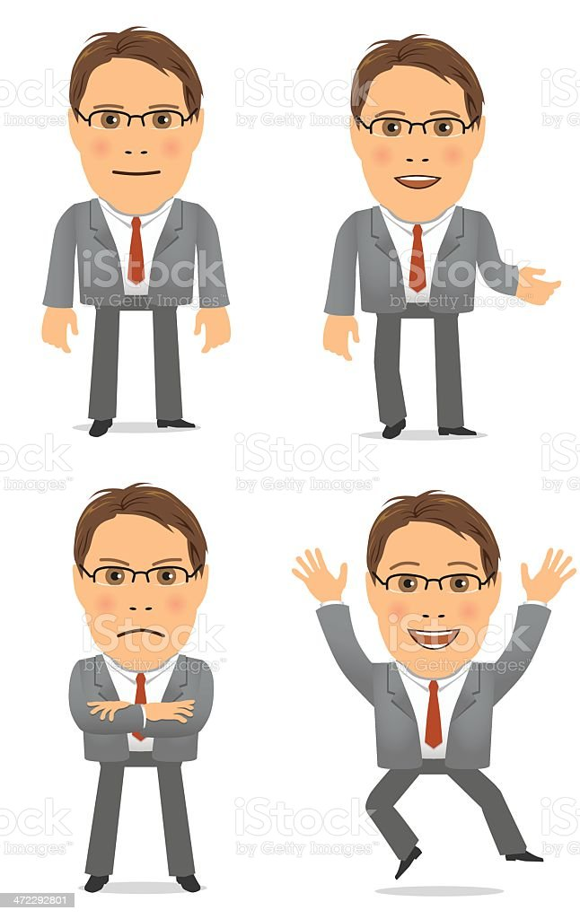 Business man in suit - four poses royalty-free stock vector art