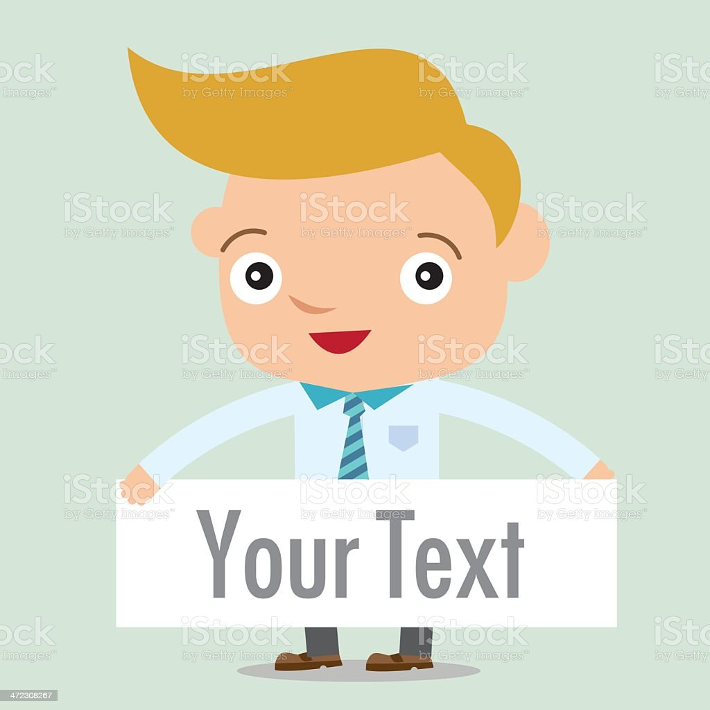 business man in vector showing blank display royalty-free stock vector art