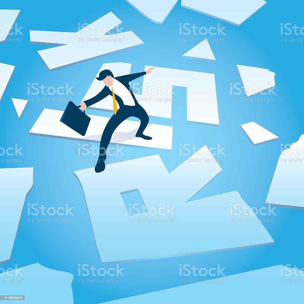 business man is risking on slippery ice vector art illustration