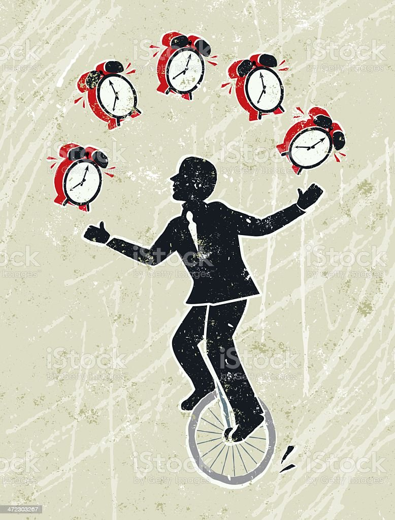 Business Man Juggling Alarm Clocks Whilst Riding a Unicycle royalty-free stock vector art