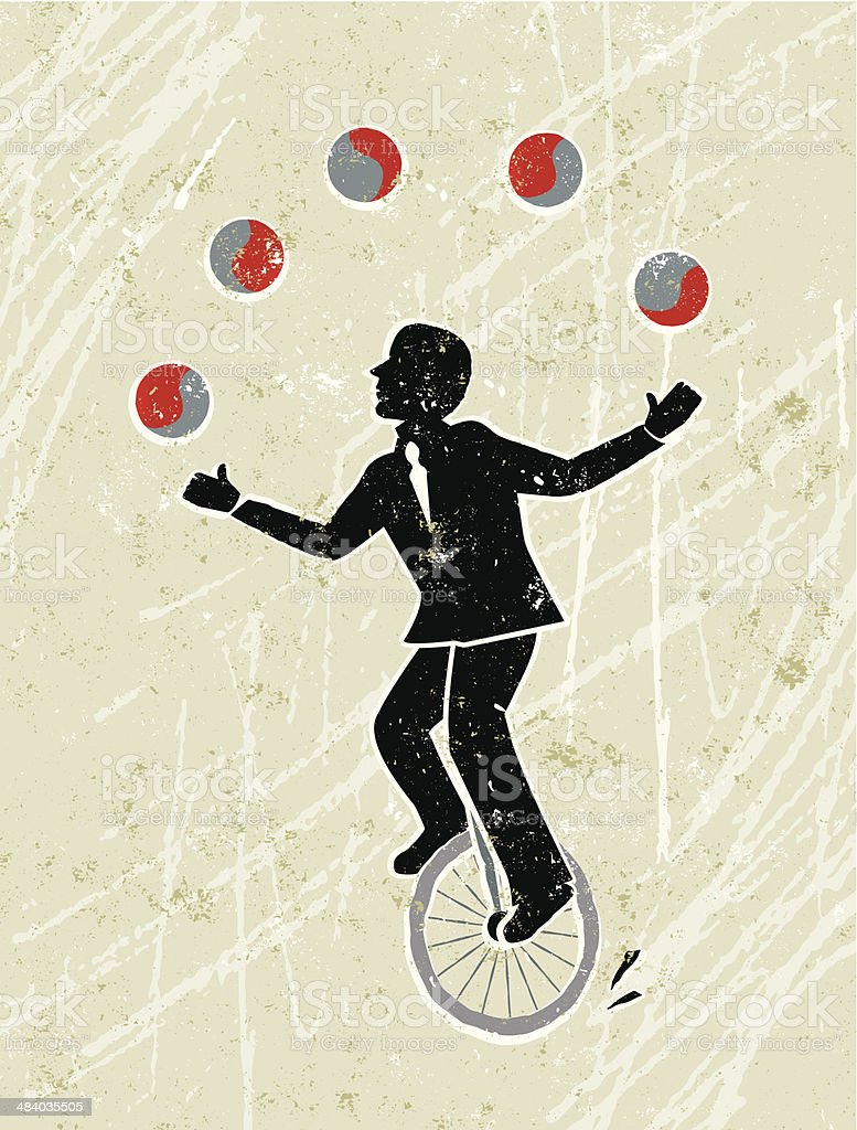 Business Man Juggling Balls Whilst Riding a Unicycle vector art illustration