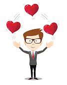 Business man juggling hearts .