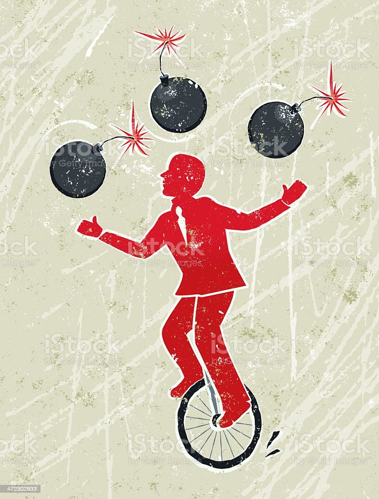 Business Man Juggling Lit Bombs Whilst Riding a Unicycle vector art illustration