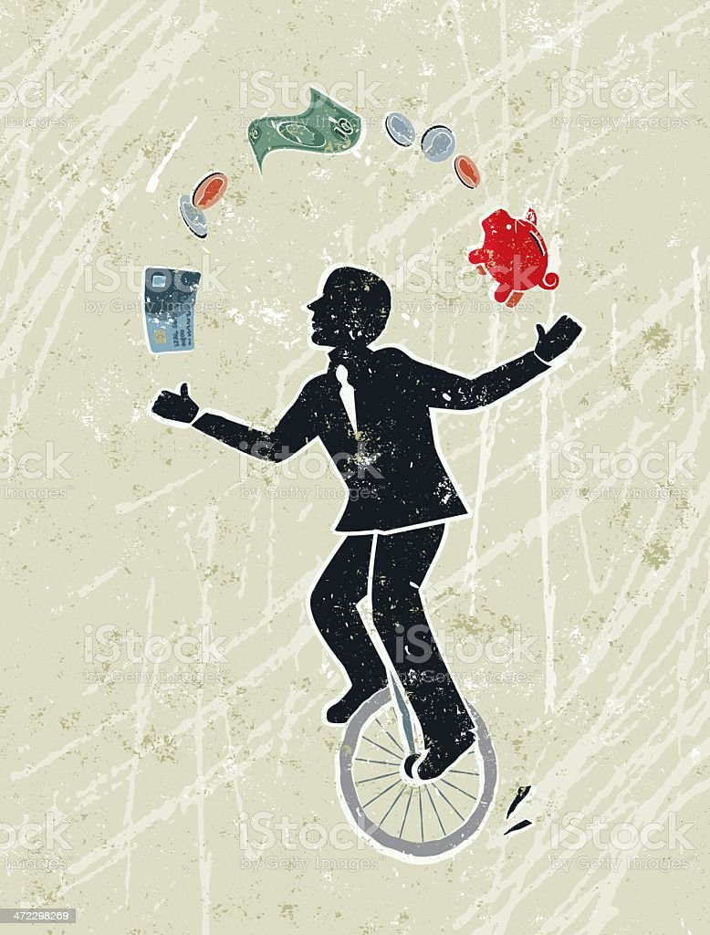 Business Man Juggling Money Icons Whilst Riding a Unicycle vector art illustration
