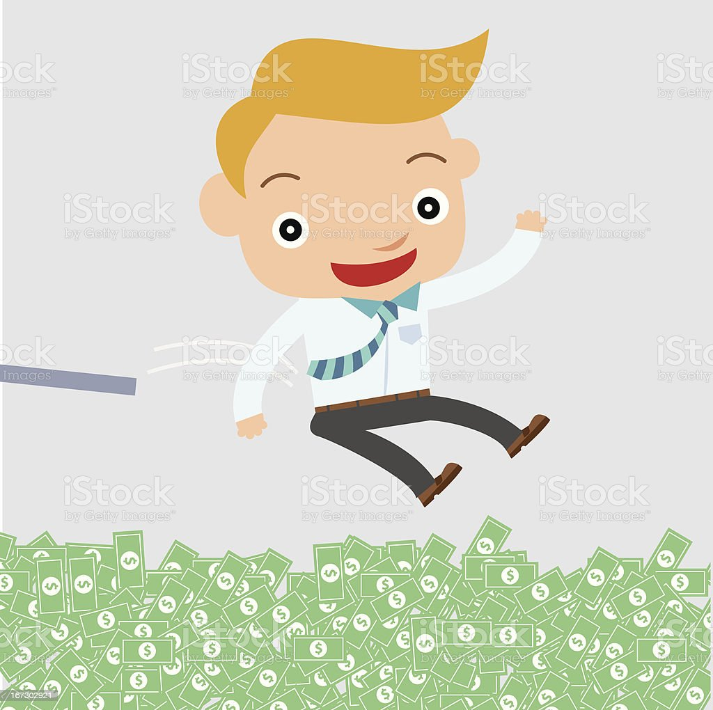 business man jump to money royalty-free stock vector art