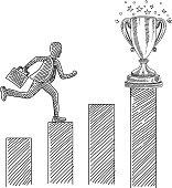 Business Man Jumping over Progress bar Drawing