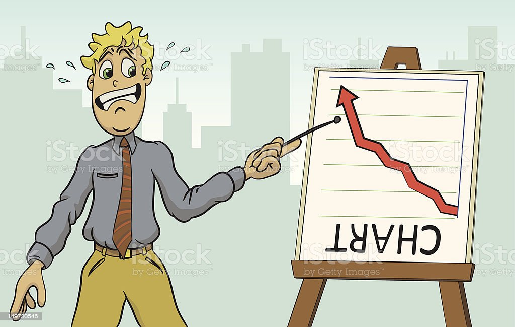 Business man Lies about the numbers vector art illustration