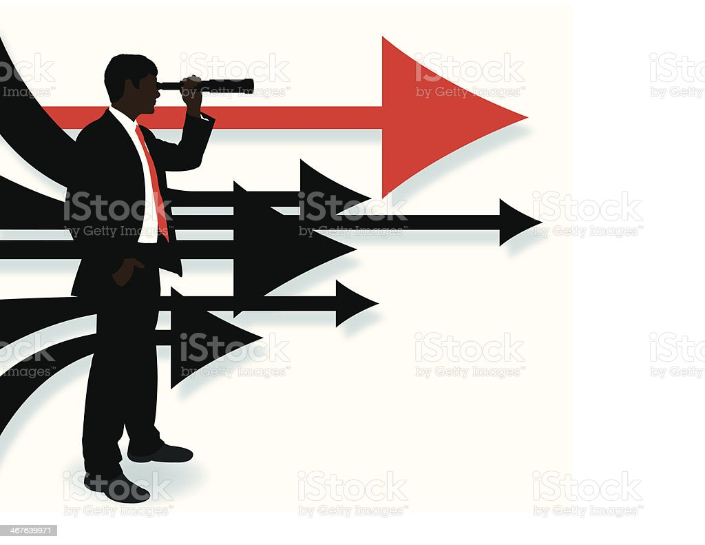 Business Man Looking Ahead - Directional Arrows Background vector art illustration