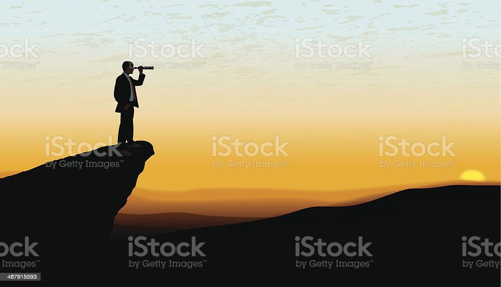 Business Man Looking to the Horizon at Dawn Background vector art illustration