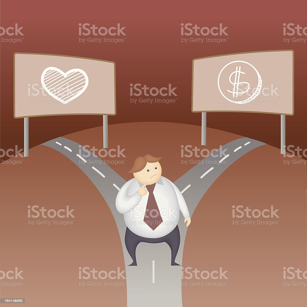 business man love money decision royalty-free stock vector art
