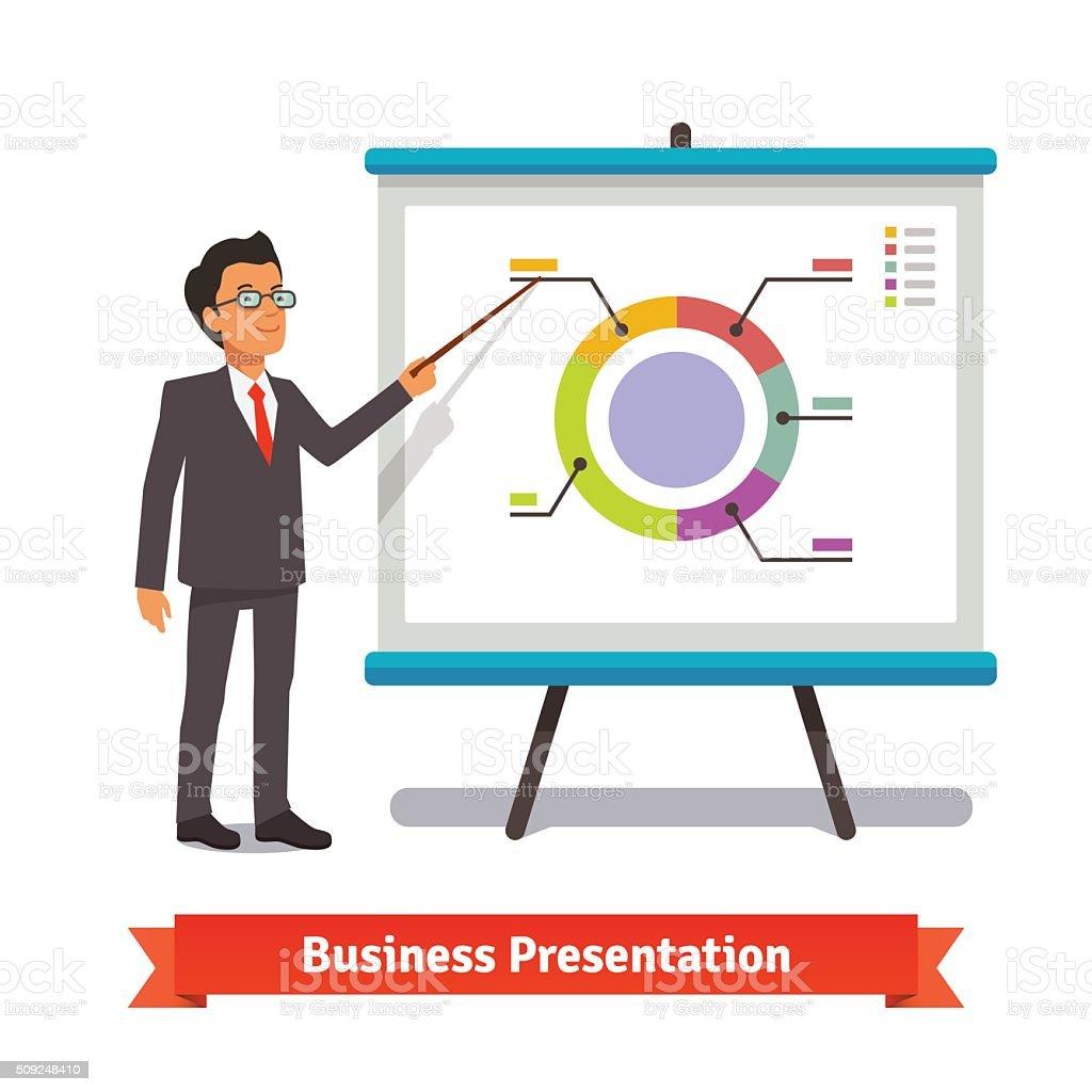 Business man mentor delivering presentation speech vector art illustration