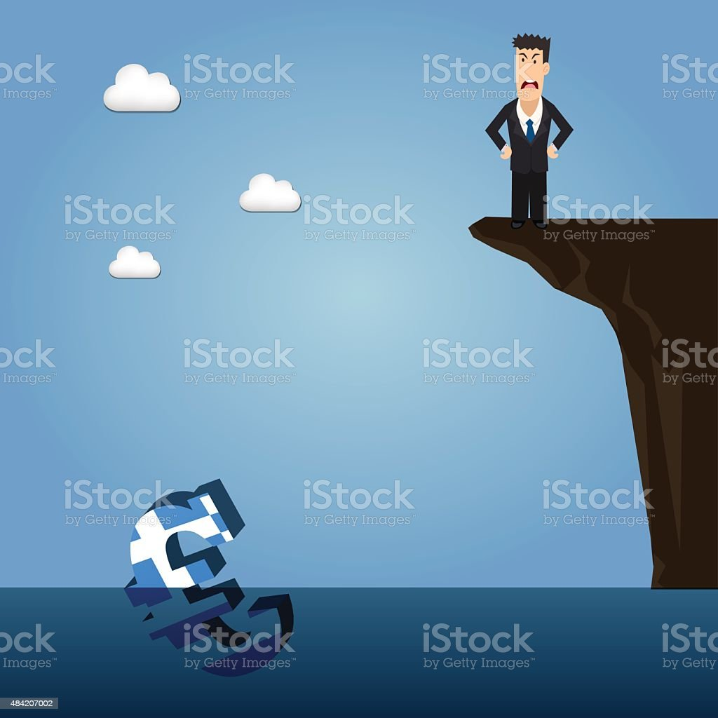 Business man near abyss looking at drowning Greek Euro symbol vector art illustration