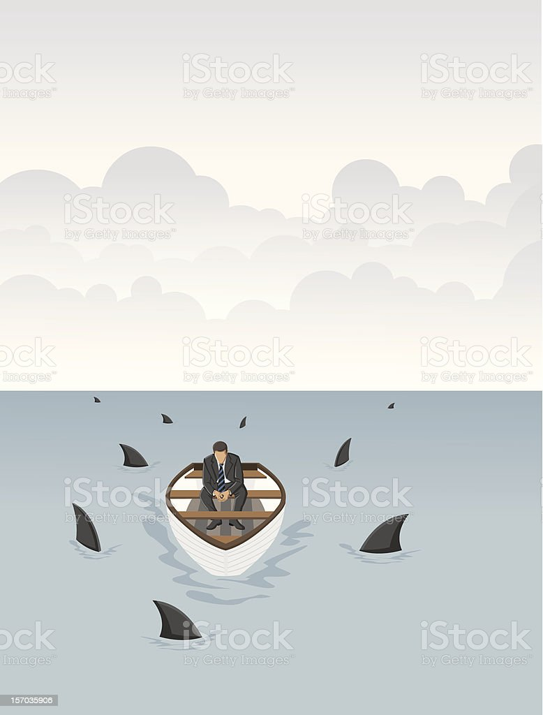 Business man on a boat vector art illustration