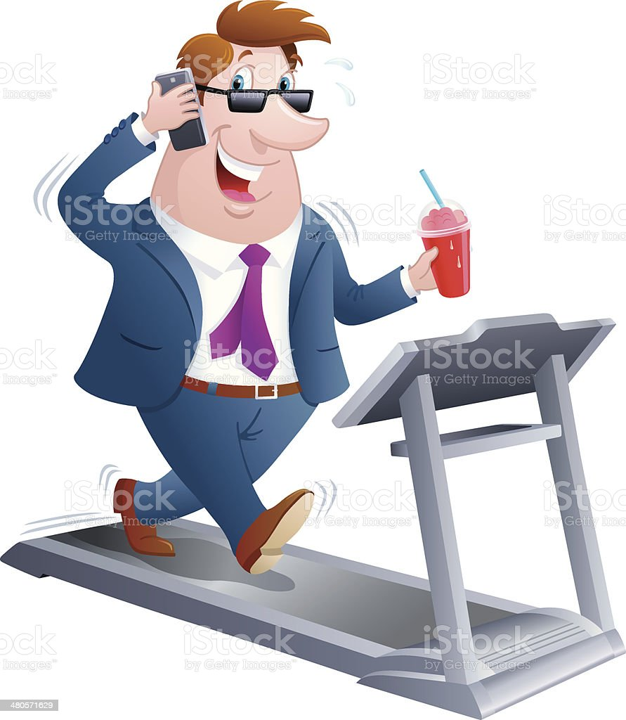 Business Man on a Treadmill and Talking on Cell Phone royalty-free stock vector art