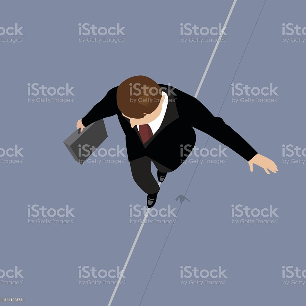 Business Man on a Wire. vector art illustration