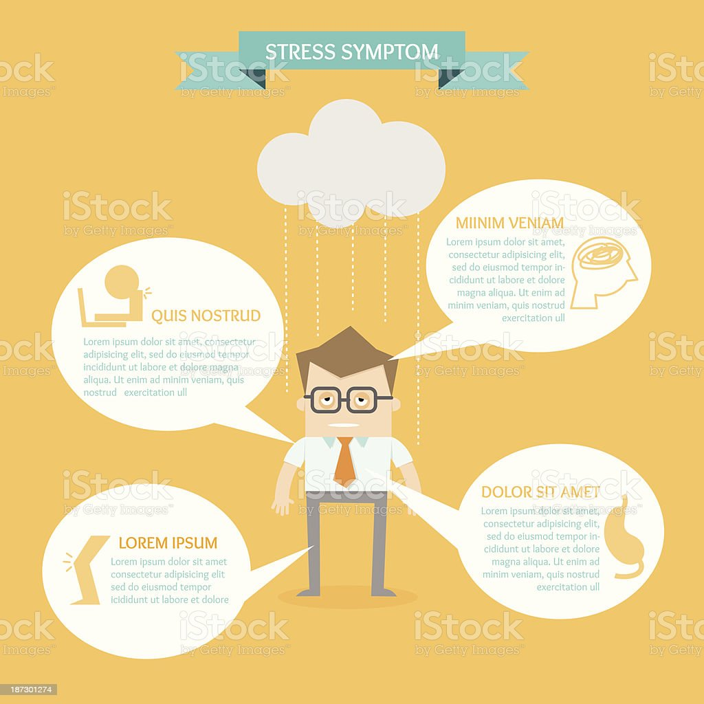 business man on health infographic stress symptom concept royalty-free stock vector art