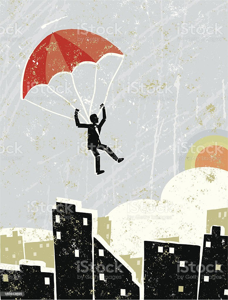 Business Man On Parachute Flying Free Over a Cityscape royalty-free stock vector art