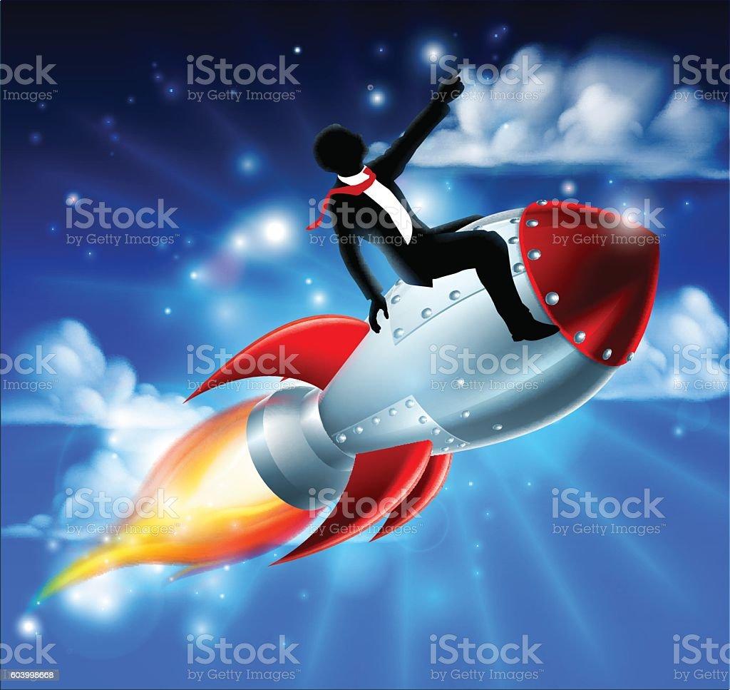 Business Man on Rocket Ship vector art illustration