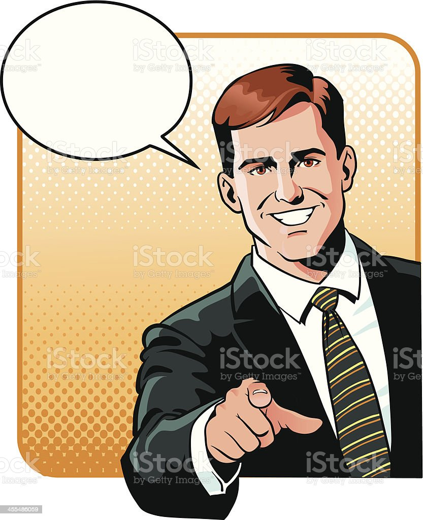 Business Man Pointing Finger at You royalty-free stock vector art