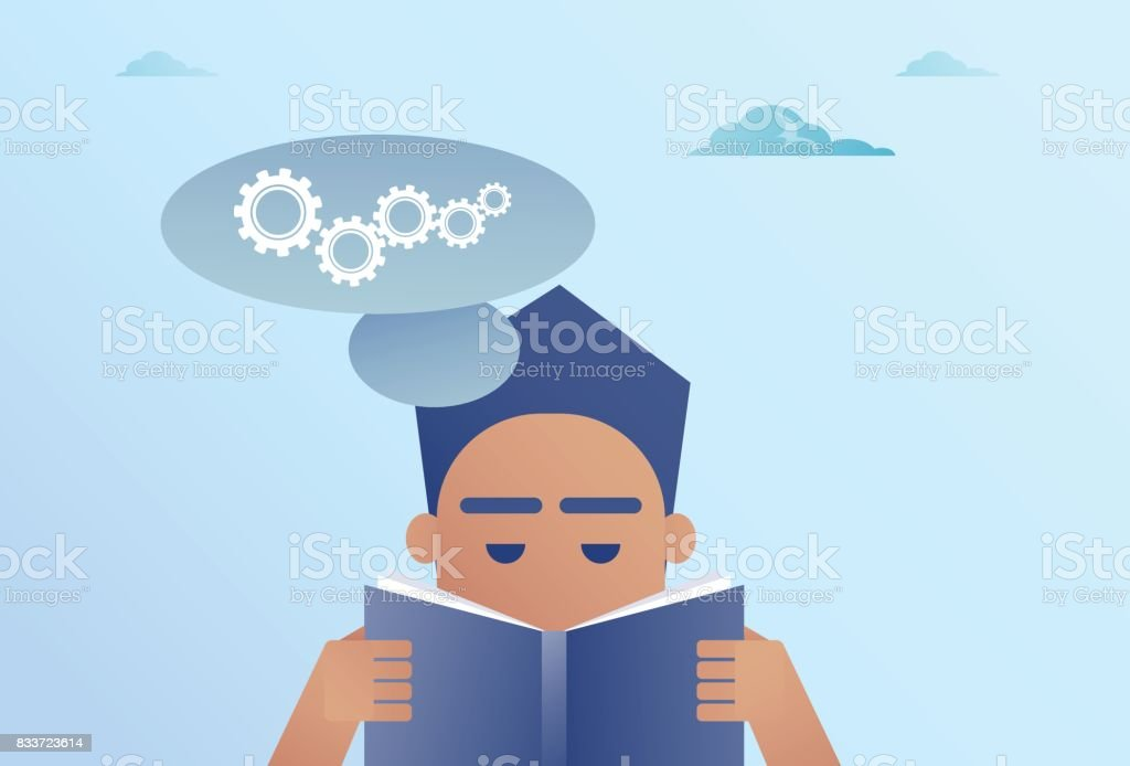 Business Man Reading Book Chat Bubble With Cogwheel Brainstorming Process Concept vector art illustration