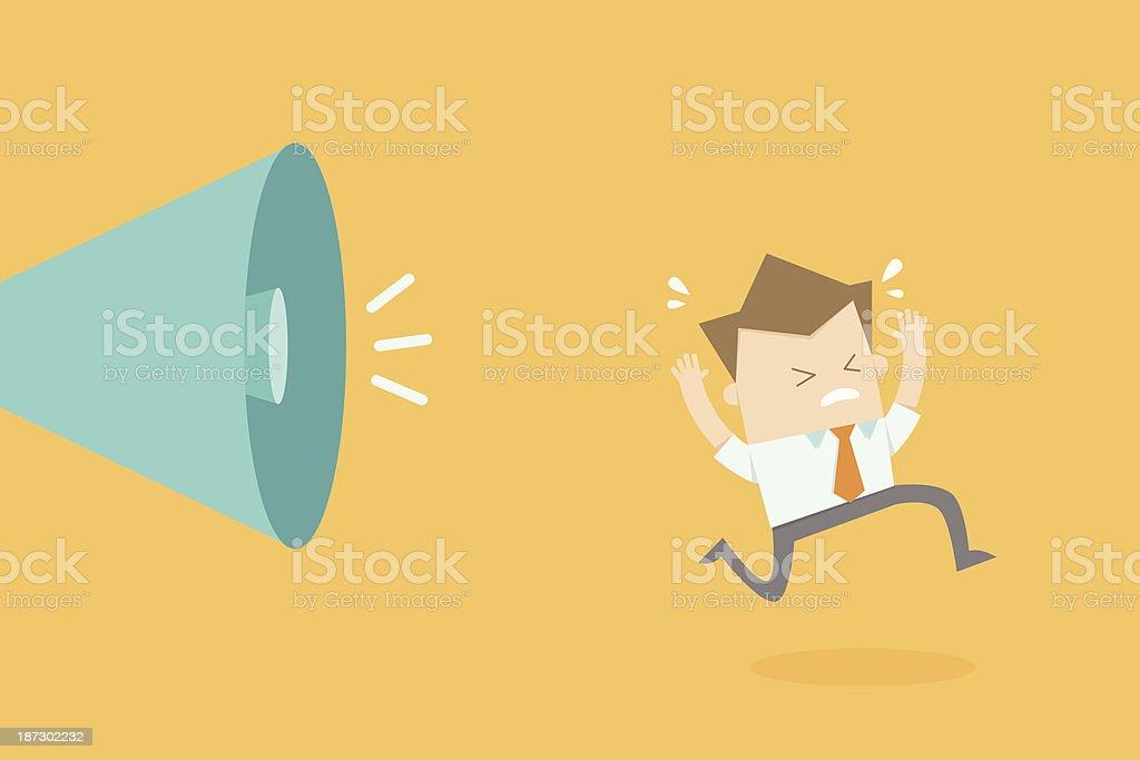 business man running stress as boss shouting vector art illustration