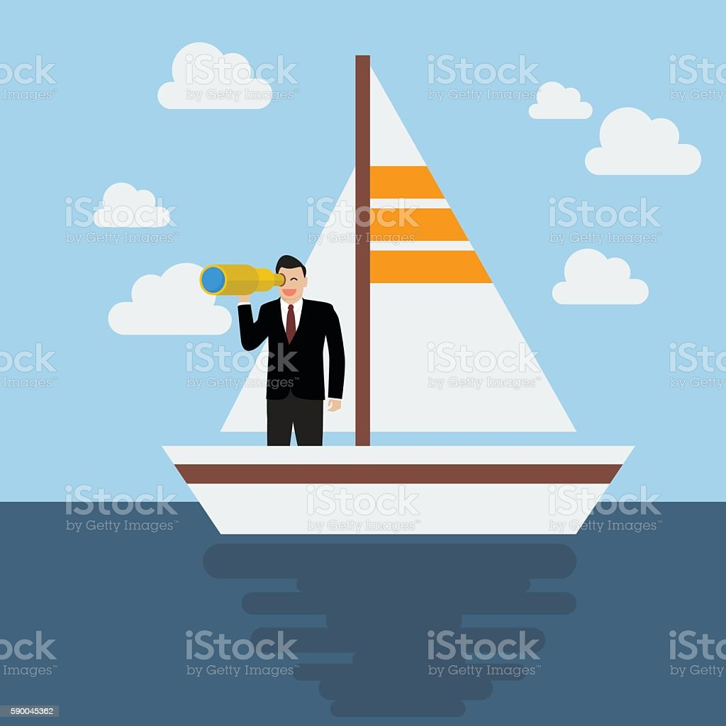 Business man sailing and looking for future vector art illustration