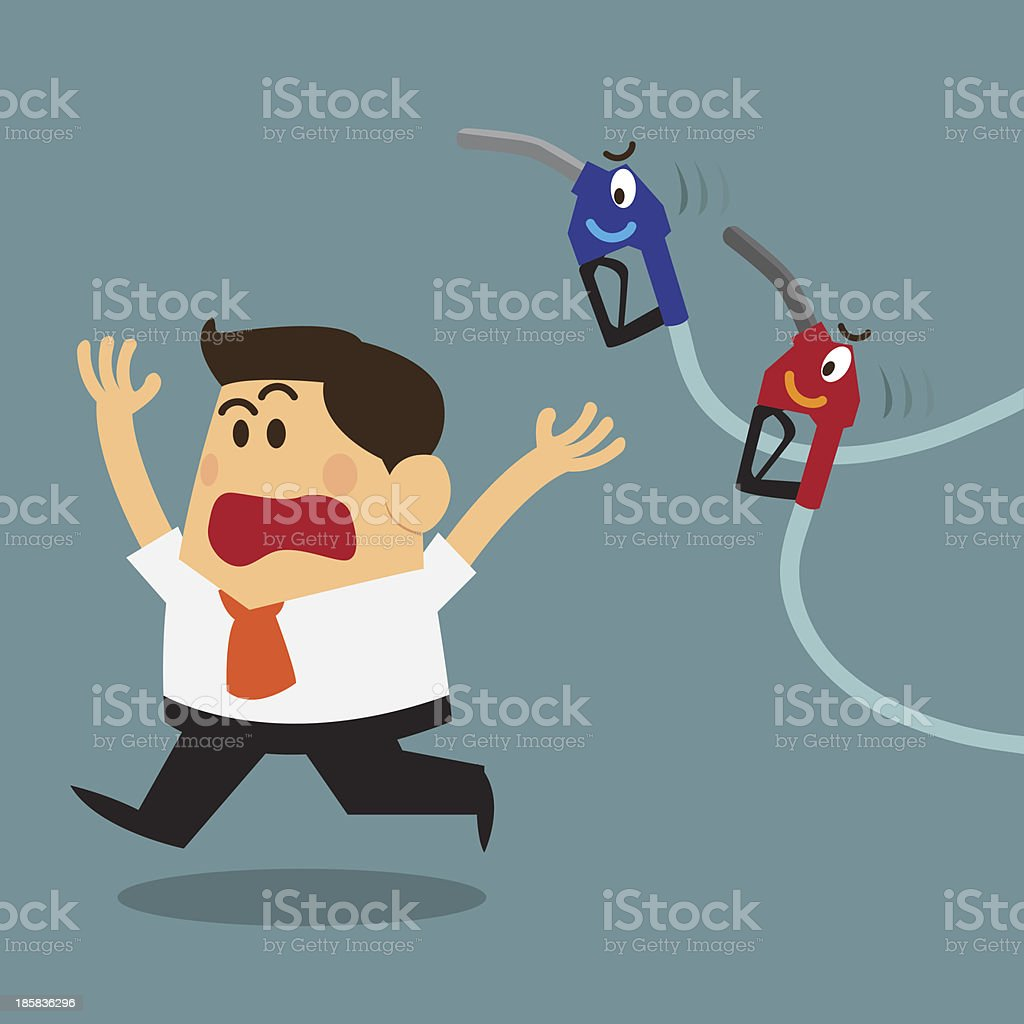 business man scary and run away from fuel nozzles royalty-free stock vector art