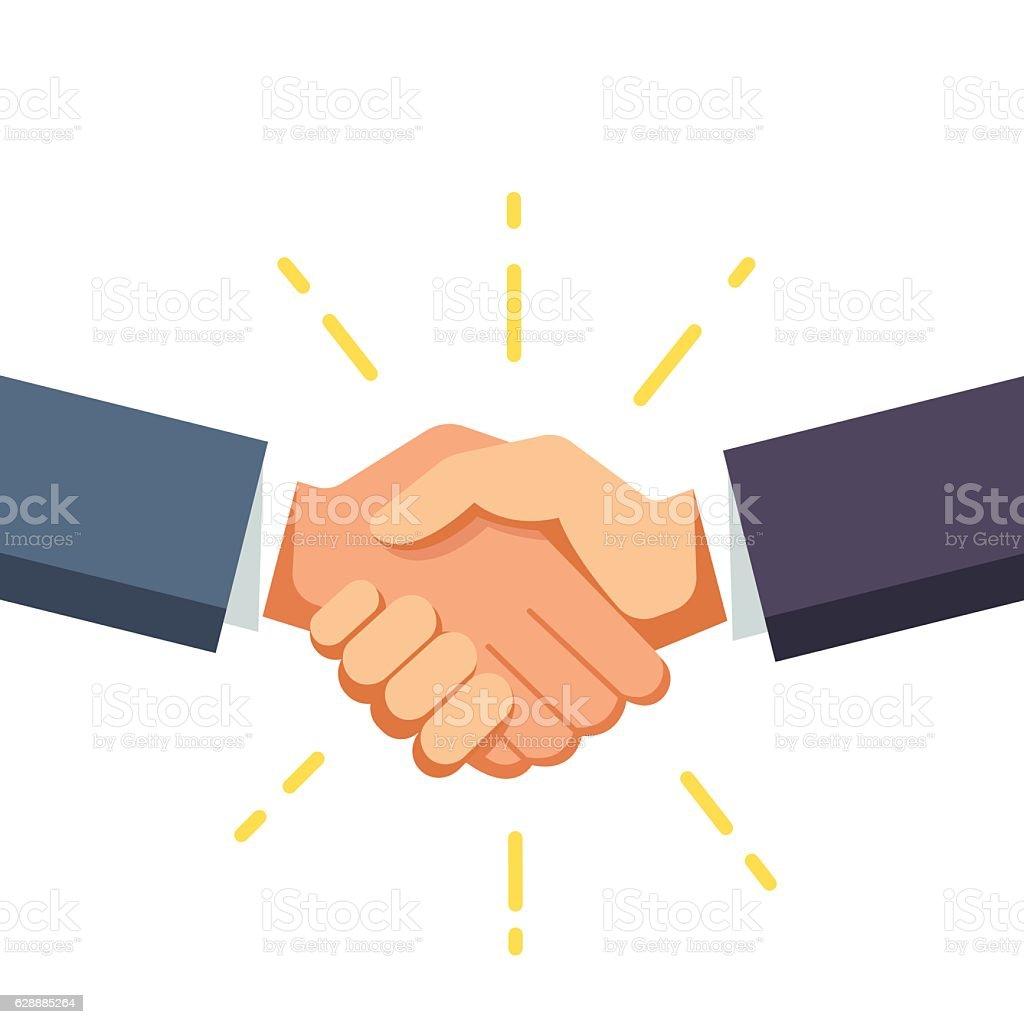 Business man shaking hands vector art illustration