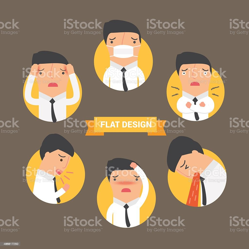 Business man sick charactor infographics flat icon, vector illus vector art illustration