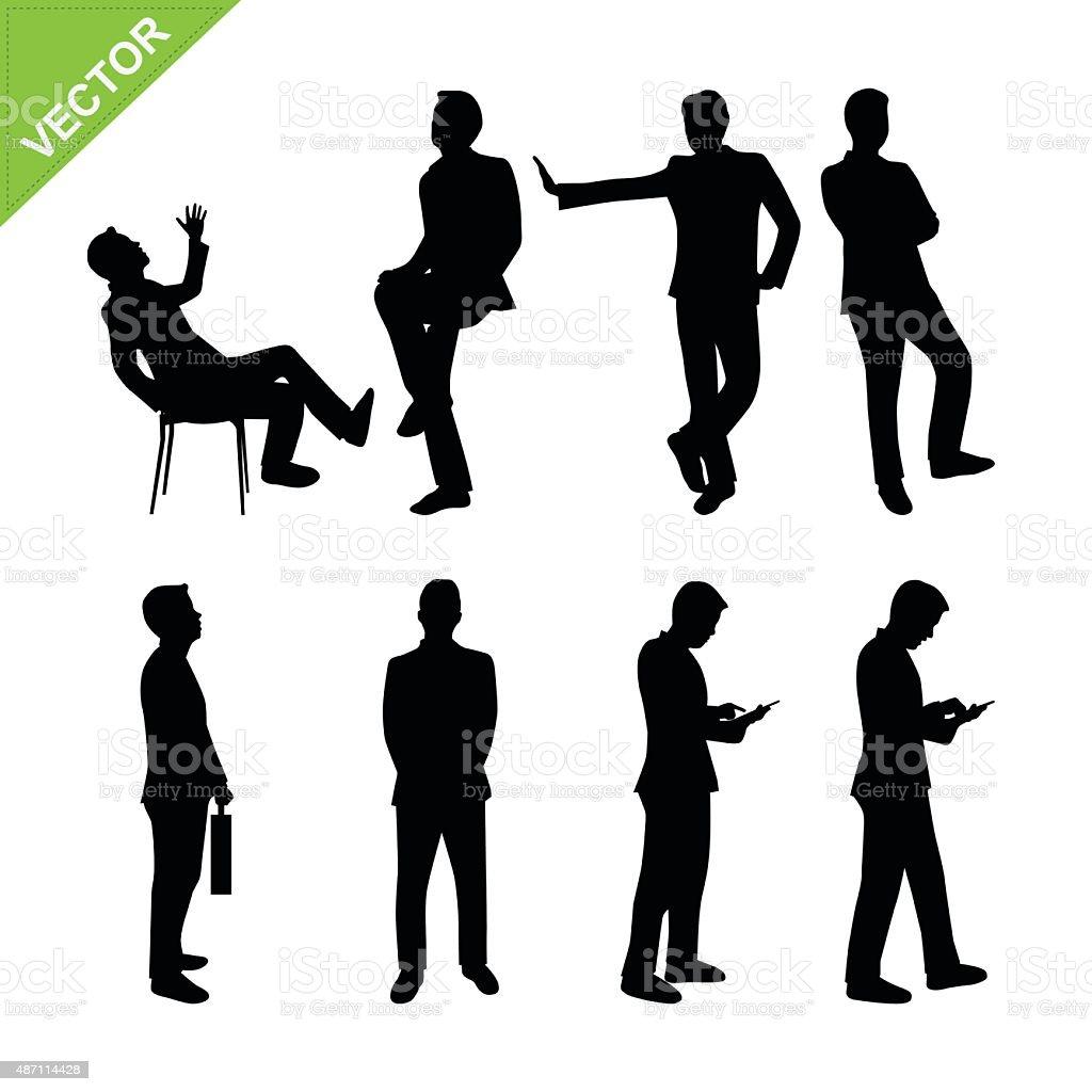Business man silhouettes vector vector art illustration