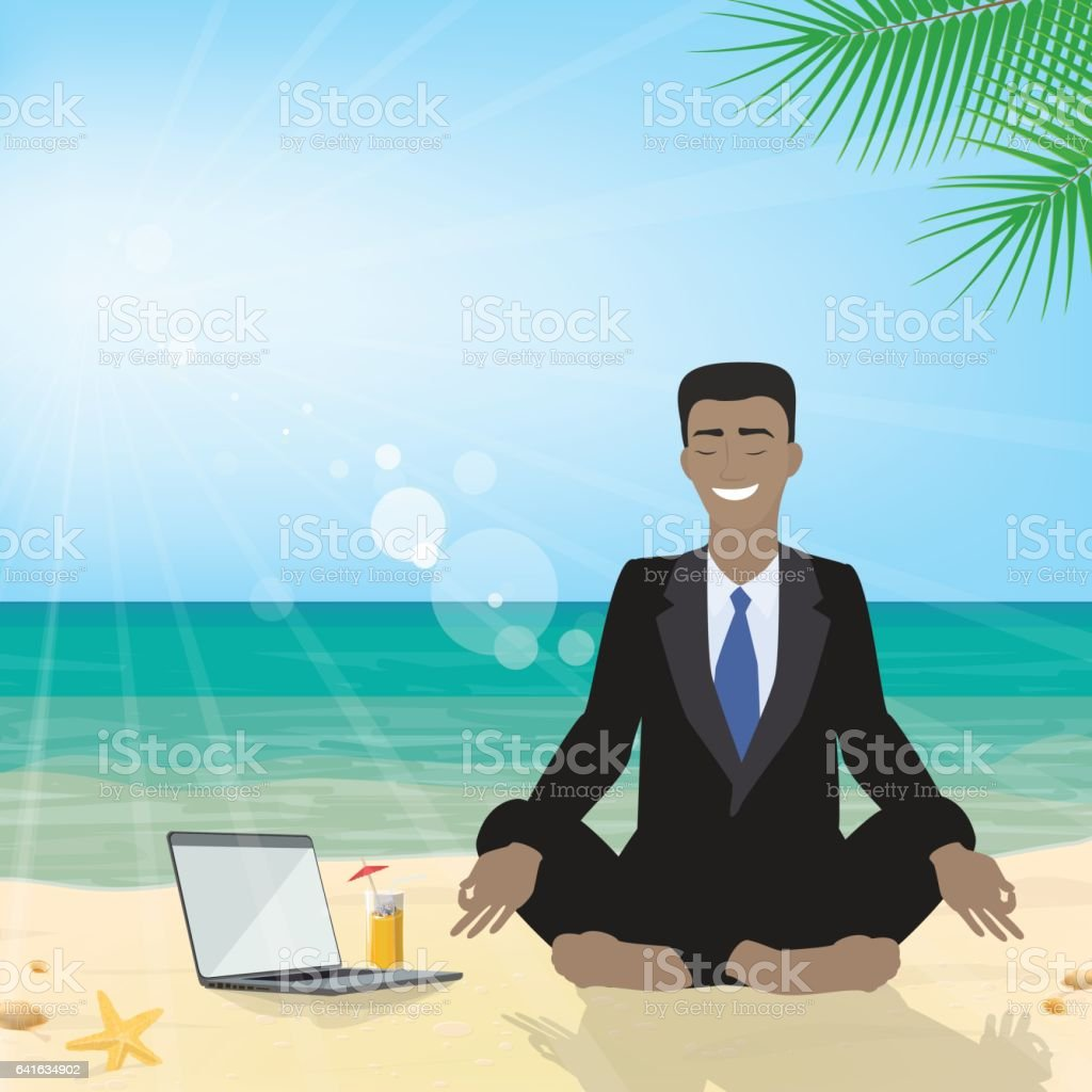 Business man sitting on the beach meditating in the lotus position in the suit. Business tourism. Vector vector art illustration
