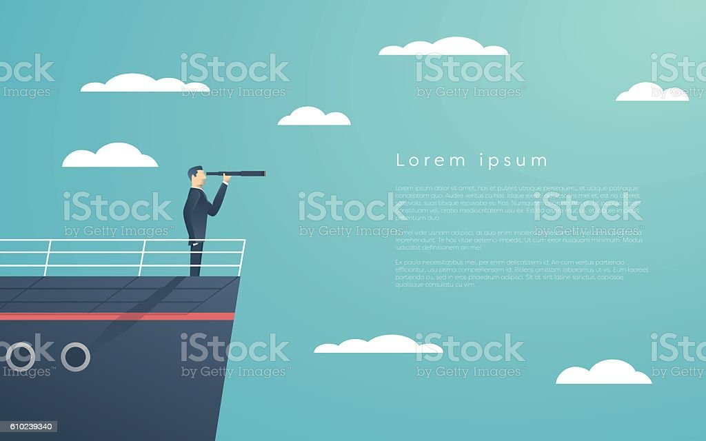 Business man standing on a ship as symbol of leadership vector art illustration