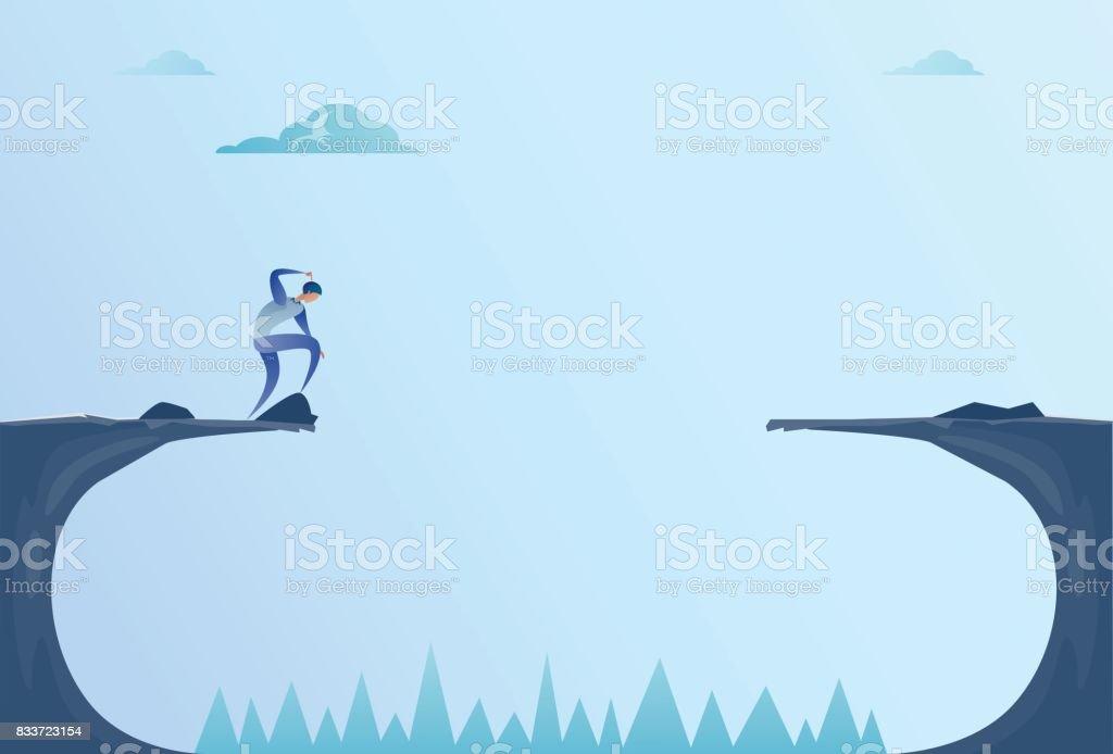 Business Man Standing On Edge Of Cliff Gap Problem Finance Bankruptcy Concept vector art illustration