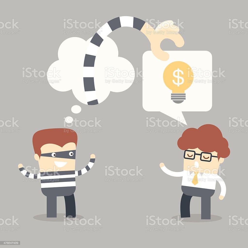 business man talking idea to thief vector art illustration