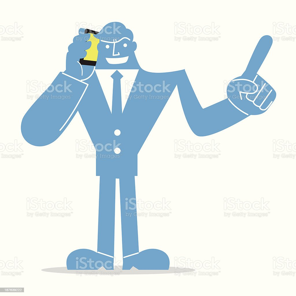 Business Man Talking On Phone royalty-free stock vector art