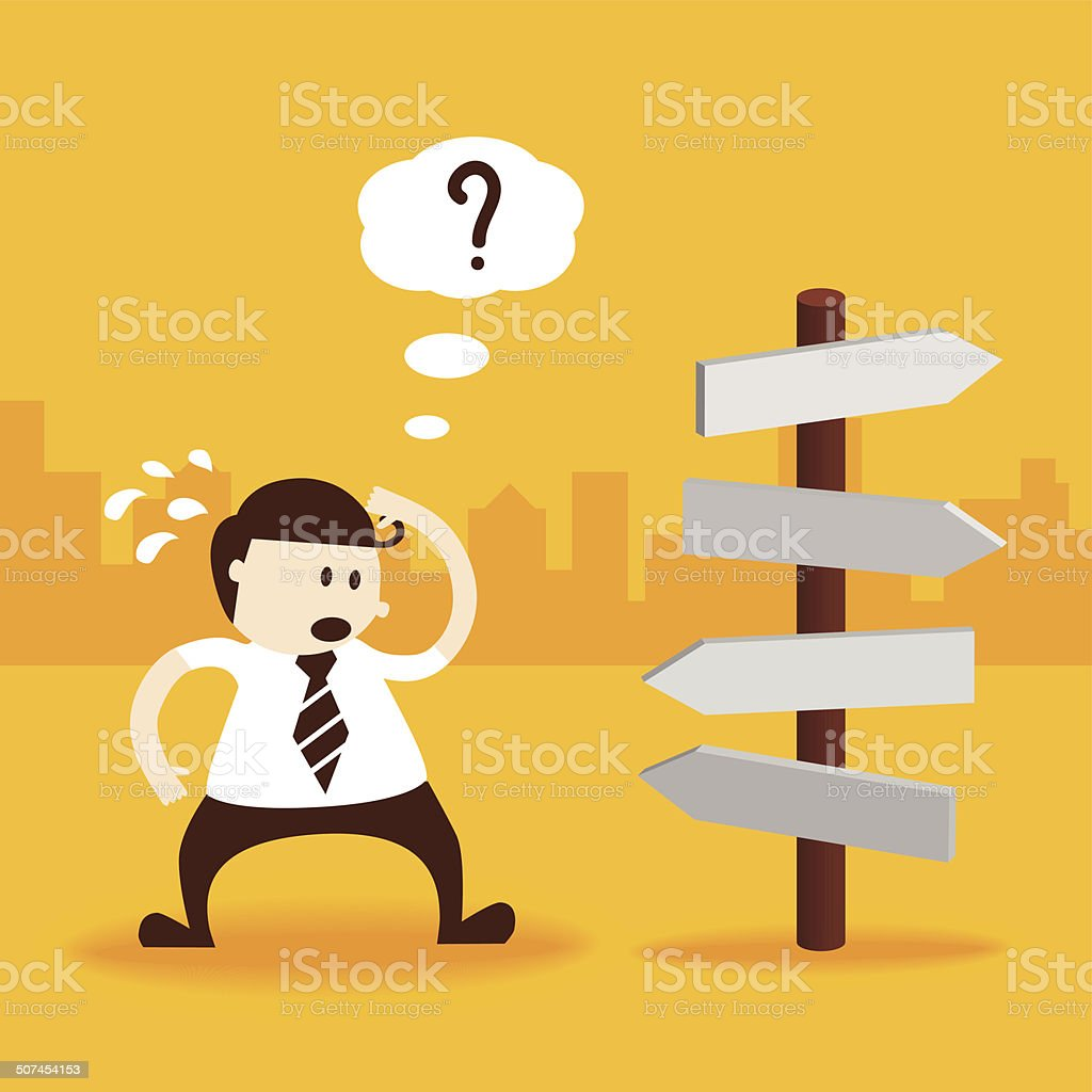 Business man thinking which way to go vector art illustration