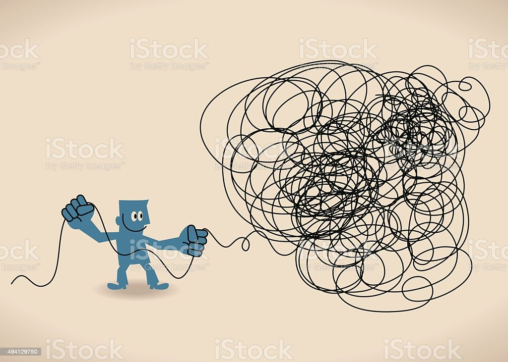 Business man untangle a tangled messy knot (string, line) vector art illustration