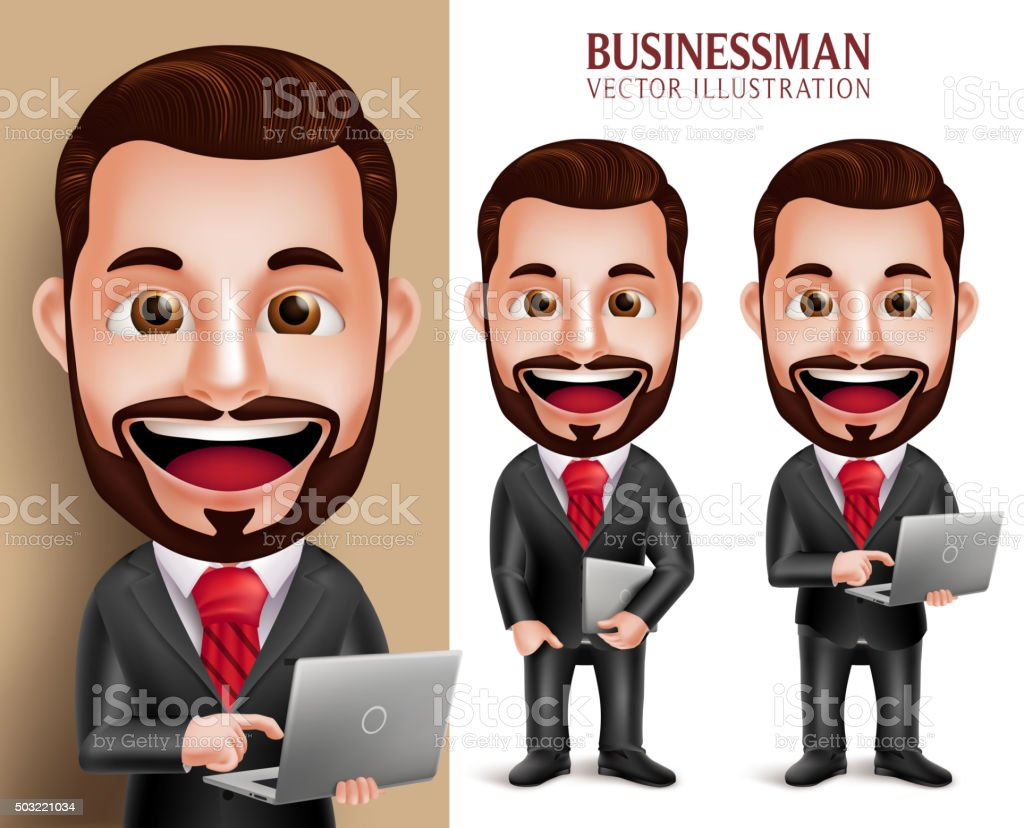 Business Man Vector Character Happy Holding Laptop Notebook vector art illustration