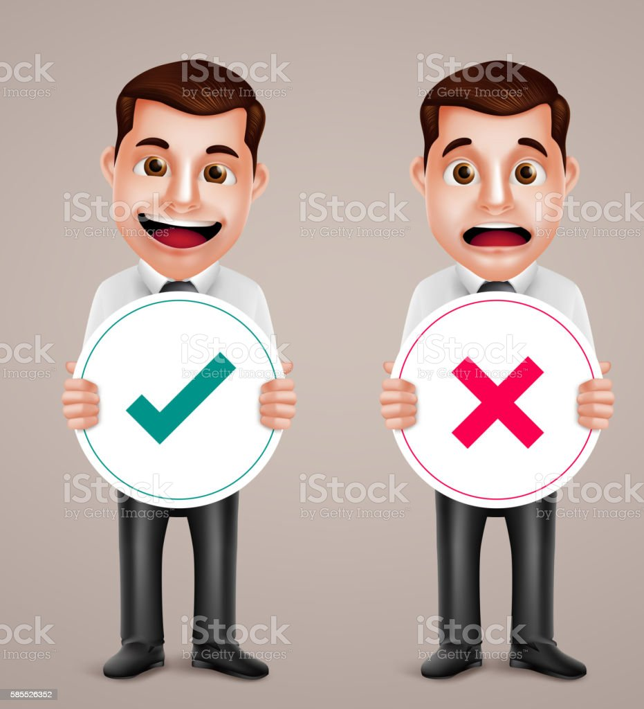 Business man vector character holding right and wrong sign vector art illustration
