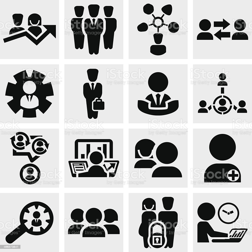 Business man vector icons set on gray. vector art illustration