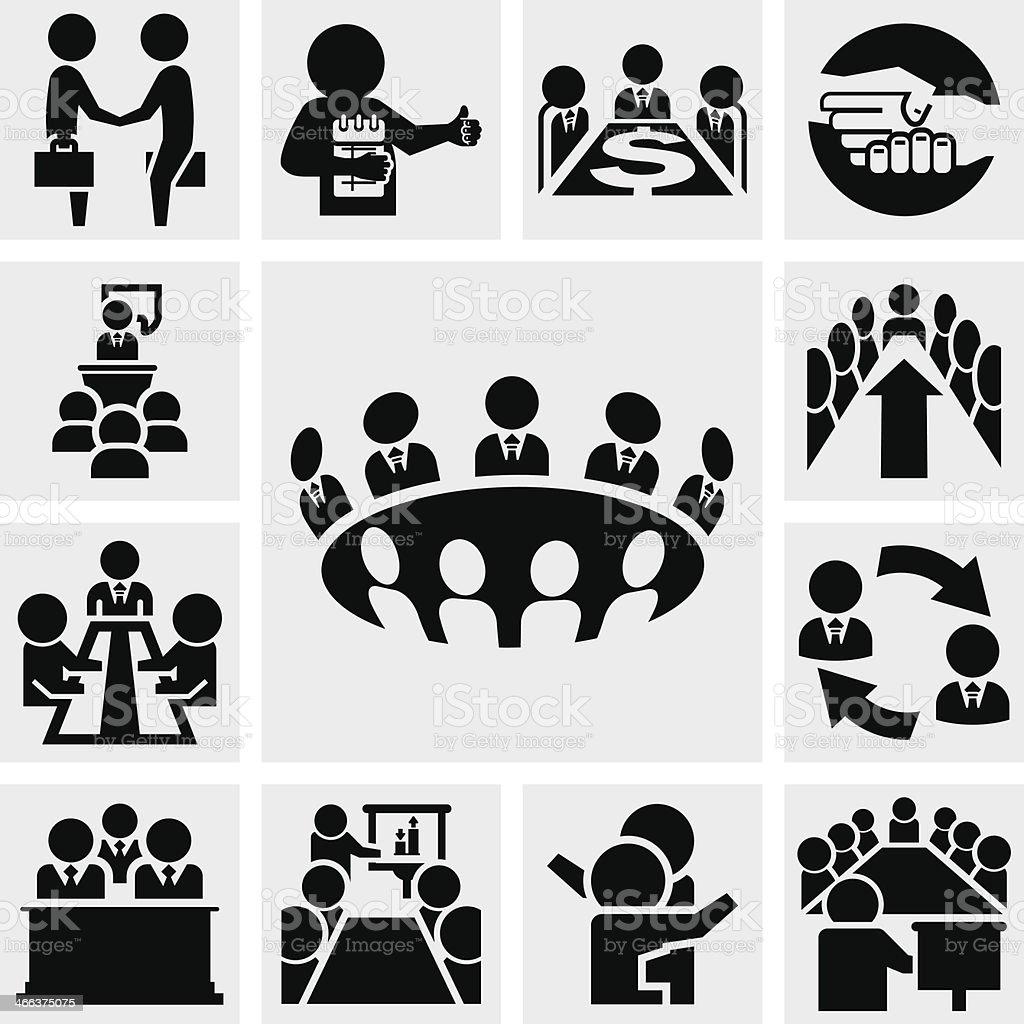 Business man vector icons set on gray vector art illustration